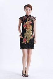 Wholesale Chinese Lace Wedding Dress - Free shipping black lace chinese cheongsam women's evening dress wedding dress S-3XL