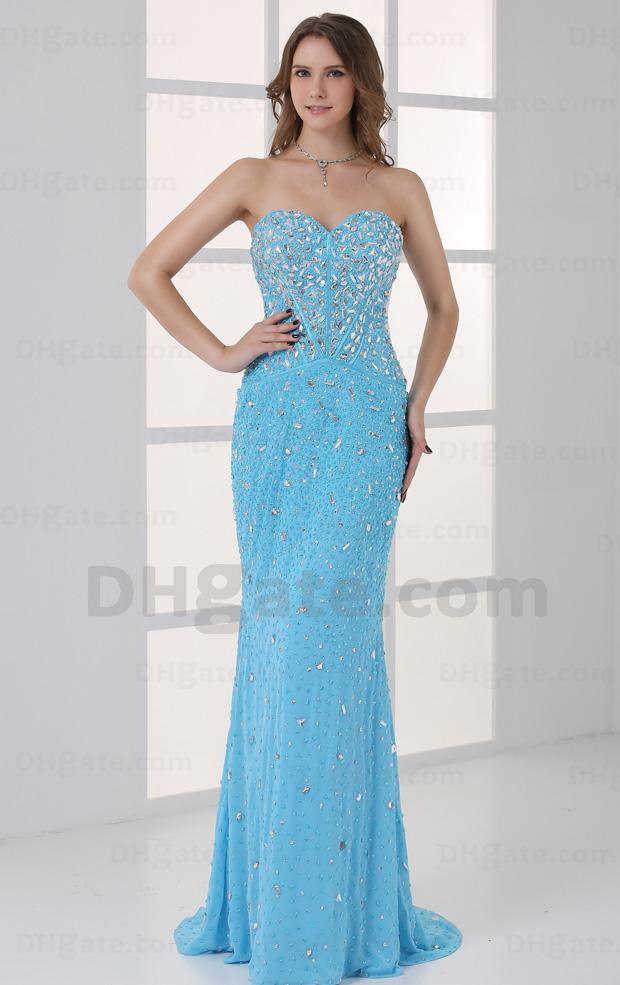 2015 ! Sweet Heart Crystal Beaded Ocean Blue Prom Dresses Mermaid ...