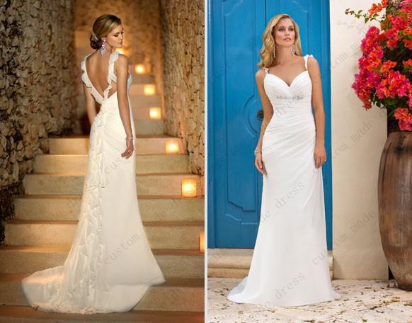 Elegant wedding dress ruffled spaghetti straps cascade for Spaghetti strap low back wedding dress