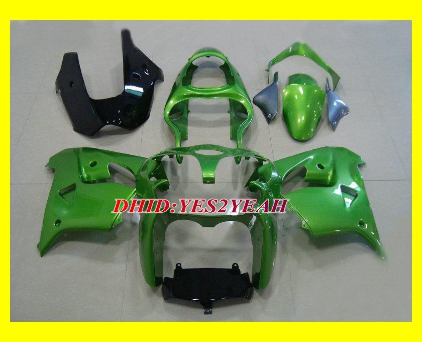 Motorcykel Fairing Body Kit för Kawasaki Ninja ZX-9R ZX9R 2000 2001 Bodywork ZX 9R 00 01 Green Fairings Set + Presenter