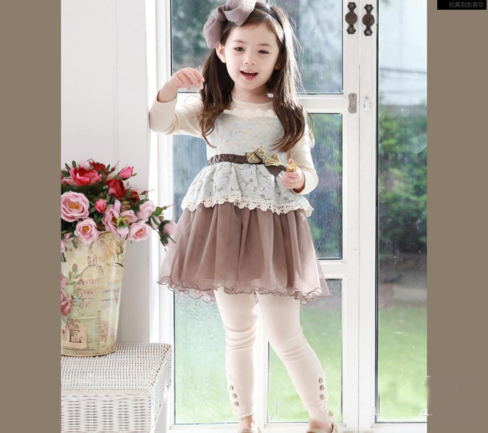2016 Girls Long Sleeve Dresses Bowknot Dresses Veil Dresses Cotton ...