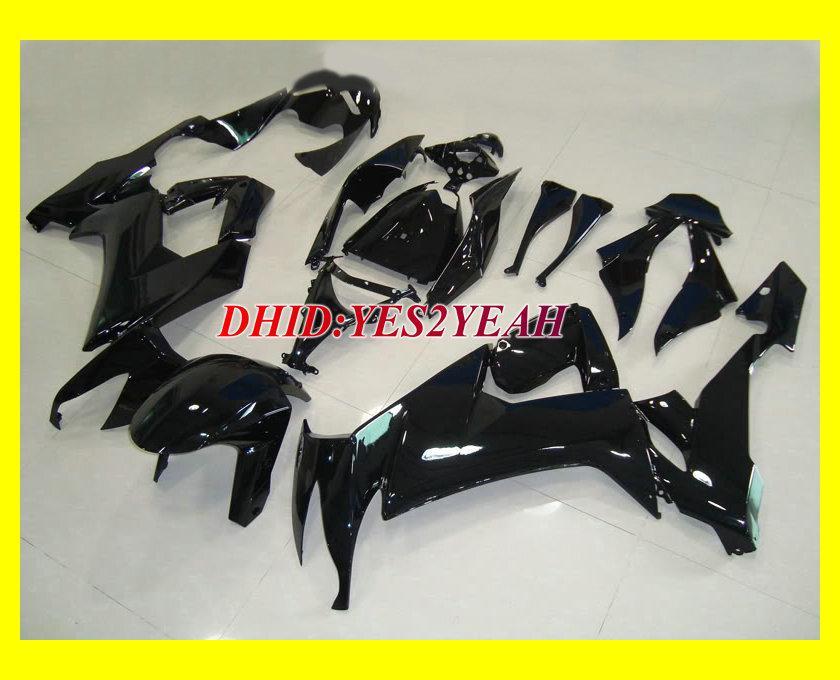 VARM!!! All Gloss Black Fairing Kit för 2008 2009 Kawasaki Ninja ZX10R ZX-10R ZX 10R 08 09 Motorcykel Fairings Set + Presenter