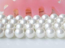 Envío gratis AA12MM color blanco redondo Shaper madre de la perla perla suelta Strand Shell joyería