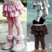 kızlar sıkı pantolon pantolon toptan satış-Çocuk Tayt Tayt kızlar legging elbise sahte iki kek etek pantolon çocuklar etek tayt
