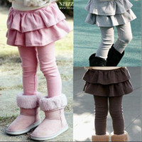 meninas calças apertadas vestido venda por atacado-Pernas das crianças Leggings collants meninas legging vestido falso dois bolo saia calça crianças saia leggings