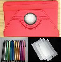 Wholesale Yellow Stylus Pen - 10pcs 360 rotation leather case for ipad mini +10pcs screen protector +10pcs Stylus pen