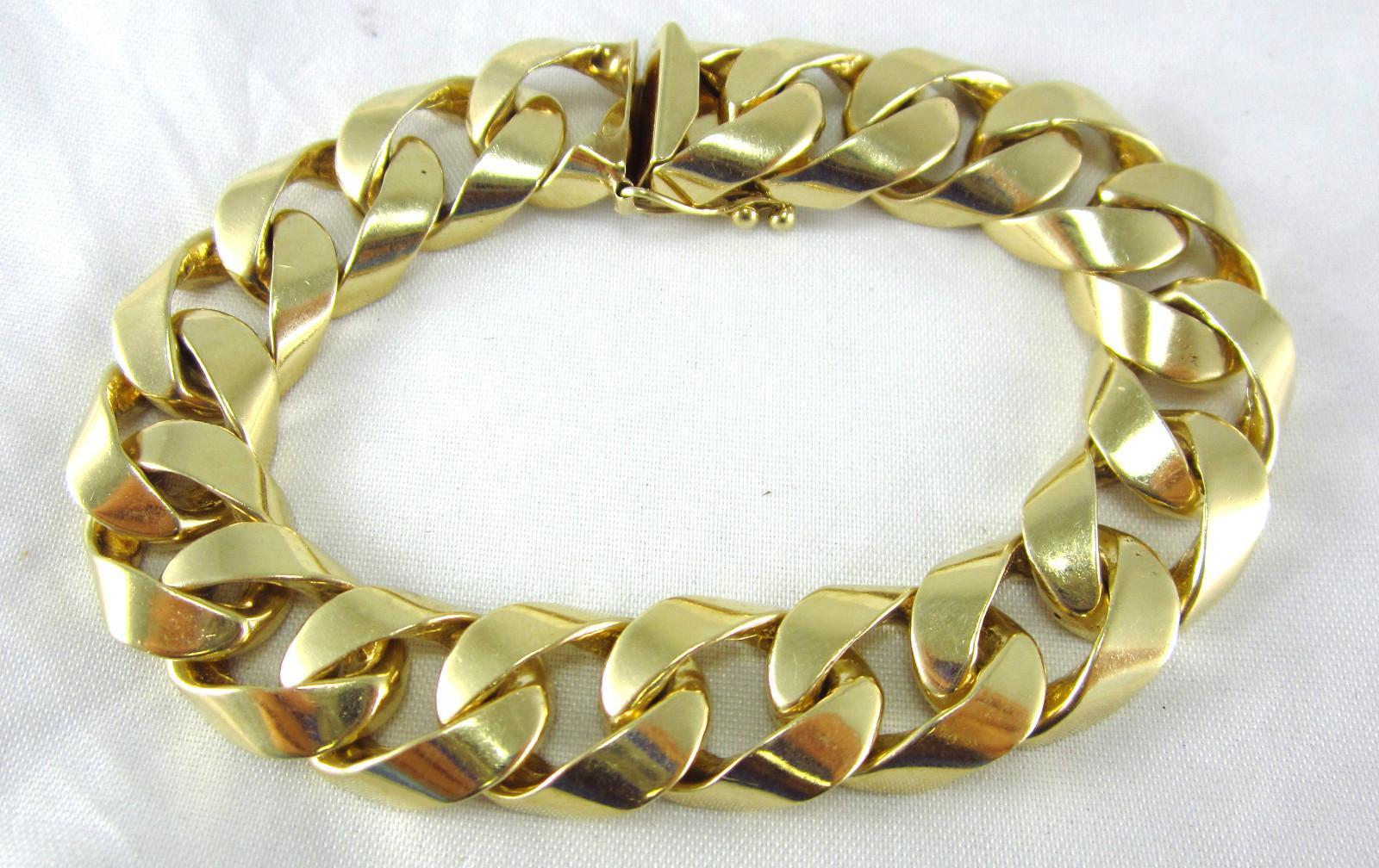 2018 Estate 14k Yellow Gold Men\'s Cuban Link Bracelet 76.9 Grams ...