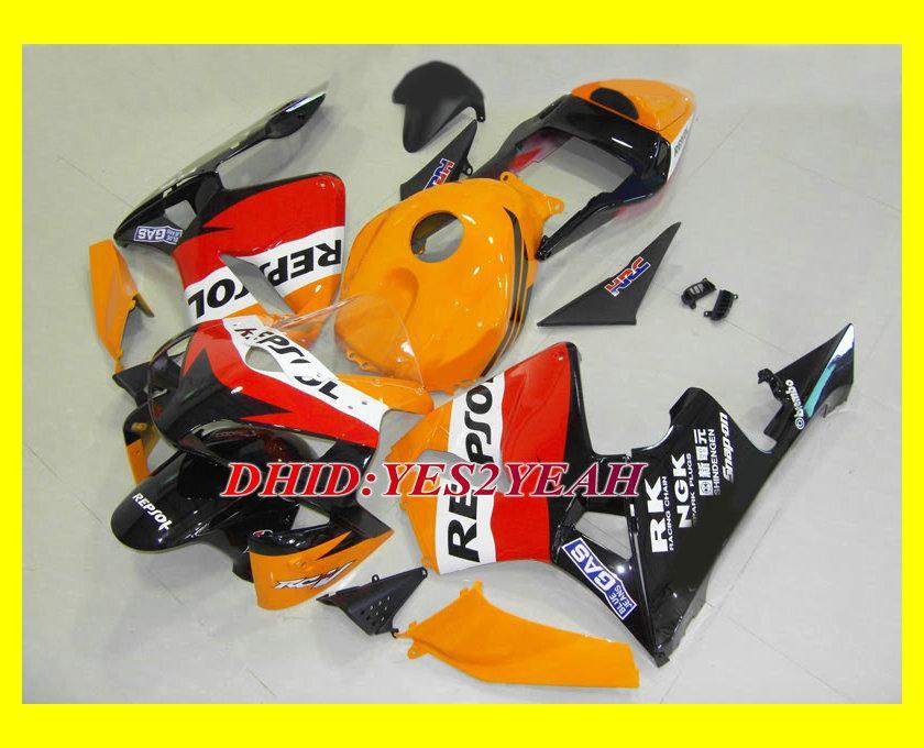 Injektionsformgefairing Body Kit för Honda CBR600RR 03 04 CBR 600RR F5 Bodywork CBR600 RR 2003 2004 Röda Orange Fairings Set