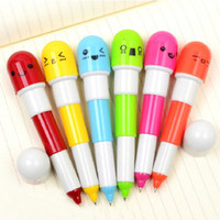 Wholesale Vitamin Ball Point Pen - Office supplies Retractable ball point pen  cartoon Telescopic face Vitamin Capsule pills ballpoint pen