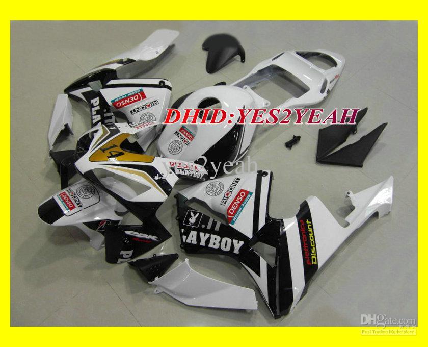 注入フェアリングセットホンダCBR600RR 03 04 CBR 600 RR F5 CBR600 RR CBR 600RR 2003 2004ホワイトブラックフェアリングボディキット+ギフト