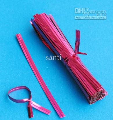 Laço torcido metálico para o saco do violoncelo do pirulito dos doces embalar 8 cm