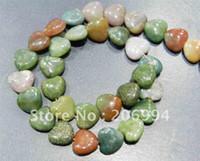"Wholesale Multi Color Agate - Wholesale 12mm India Multi-color Heart-shaped Agate Loose Beads 15"" 2pc lot fashion jewelry"