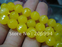 Wholesale Gemstones 8mm Faceted - Wholesale 8mm Yellow Jade Round Faceted gemstone Beads 15'' 2pc lot fashion jewelry