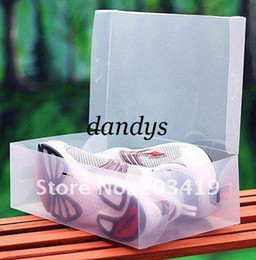 Wholesale Transparent Shoe Storage Boxes Wholesale - free shipping Transparent male man Stackable Crystal Clear Plastic Shoe Storage Boxes case organizer