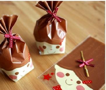 Roligt ansikte Tryckt Cello Bag Candy Bag 14cmx21cm Chokladbröd Förpackning Väska