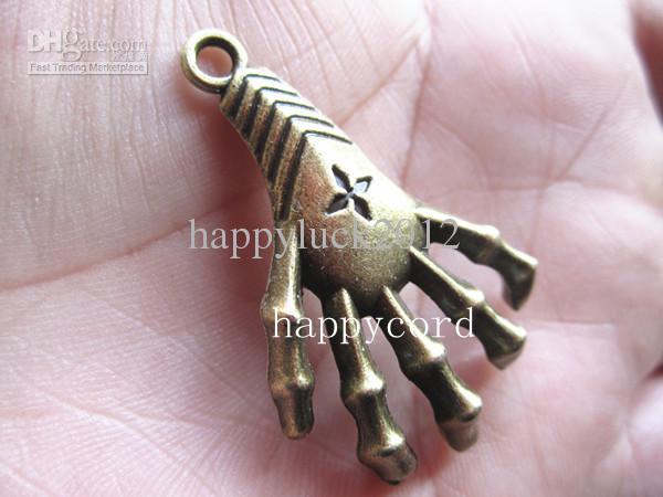 Antieke bronzen hand charme hanger 26mmx40mm /