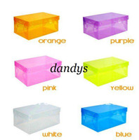 Wholesale Stackable Clear Storage Box - free shipping Transparent Women lady Stackable Crystal Clear Plastic Shoe Storage Boxes case organizer