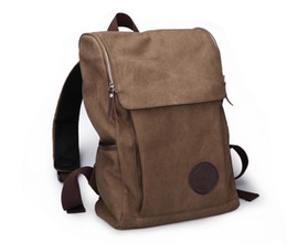 Wholesale Brown Schoolbags - Brown Black Canvas Backpack Bags canvas bag Clutch Bags Student Schoolbags
