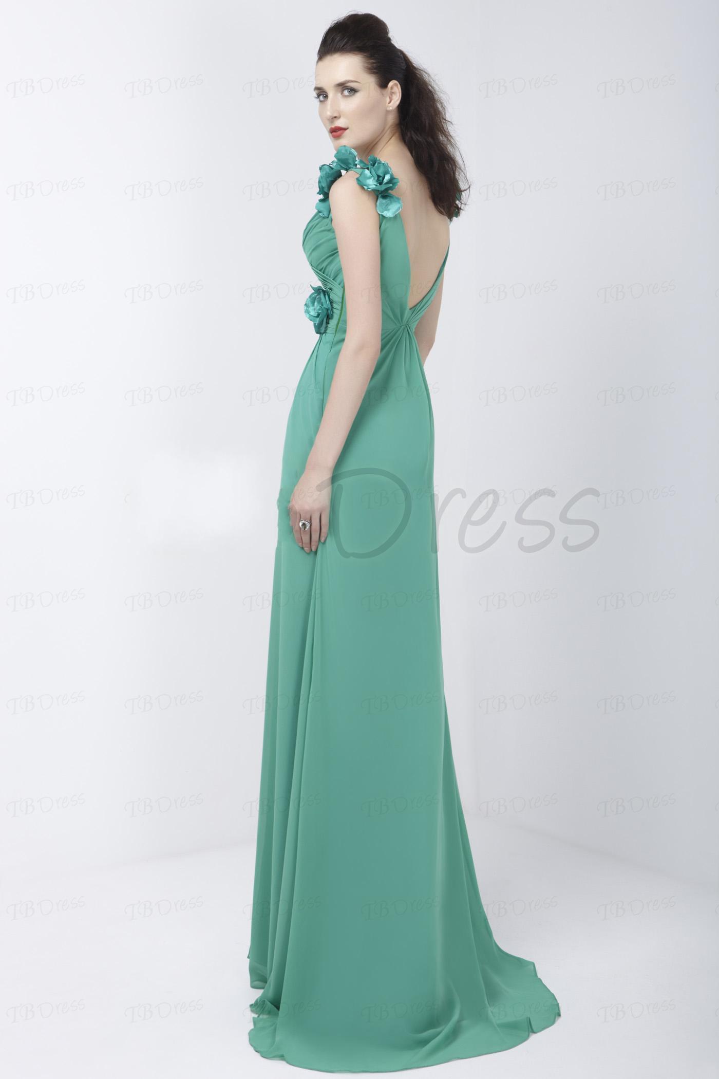 2015 personnalisé élégant A-ligne v-cou-parole longueur Spilled-Front mousseline de soie Alex robe de soirée