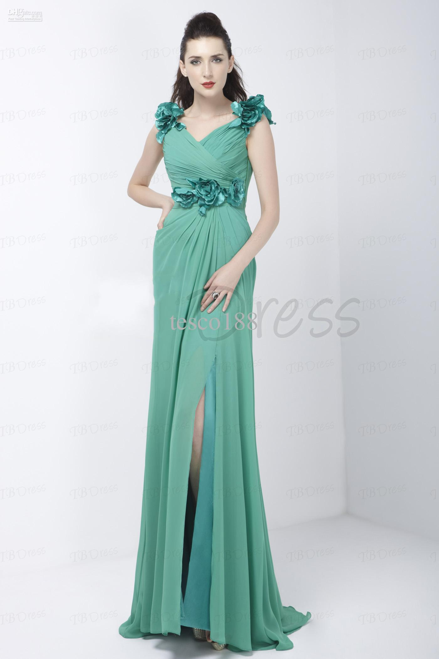 2015 Custom Elegant A-Line V-Ausschnitt bodenlangen verschütteten-Front Chiffon Alex Abendkleid