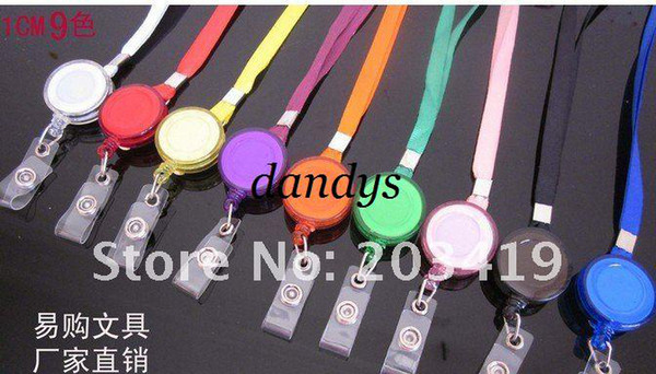 free shipping multi color Neck Strap tag lanyard+Badge reel ID Card Cell Phone key Round Clip-On Ret