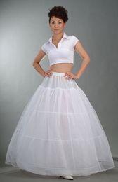 Wholesale High Waist Petticoats - Free shipping! High Quality 3-Hoop 1-Layer White Bridal Petticoat Wedding Petticoat Slip Adjustable Waist In stock