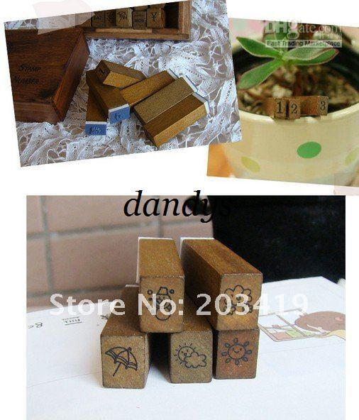 wholesale retail Wooden vintage block Antique numbers+weather+week Stamps Handwriting carved gift toy 28PC/set