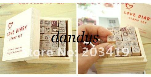 best selling free shipping Wooden cartoon love life stamper vintage Antique Stamp seal 25PC set diary carved stamp set