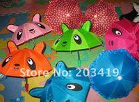 Wholesale Cartoon Kids Umbrellas - wholesale free shipping mini 3D animal cartoon toy umbrella with ears multi colors gift for kids par