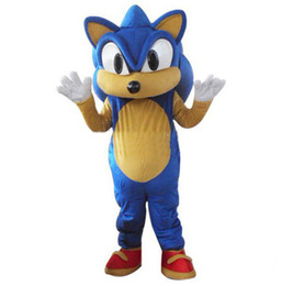 Wholesale Sonic Costumes For Adults - Adult Size Sonic the hedgehog Mascot Costume for sale Halloween Mascot Suit Free Shipping