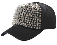 Black Rivet Casquette de baseball Hiphop Caps Rivet Cap Femmes Spike Studs Gold Rivet Hats Punk Hats