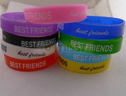 Wholesale charm rubber bracelet - 100pcs colorful muti-colored BEST FRIEND Silicone Rubber Wristband Bracelet A1535