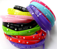 Wholesale Silicone Wristband 5mm - Wholesale-40pcs Super star Wristbands Silicone Justin bieber Bracelets 5mm Band TOP MIX