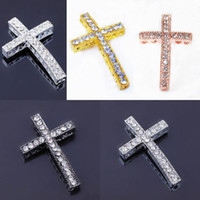 Mélange de couleur Crystal Strass Side Ways Cross Connector Beads faire bracelet Bijoux