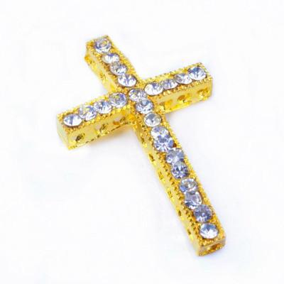 Mixed color Crystal Rhinestones Side Ways Cross Connector Beads making bracelet Jewelry findings