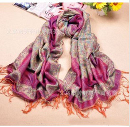 Wholesale Wholesale Silk Thread - The Latest Style Scarf Imitate Gold Thread Scarves For Women Thicker Spring Autumn Wrap Peacock Pattern Scarf