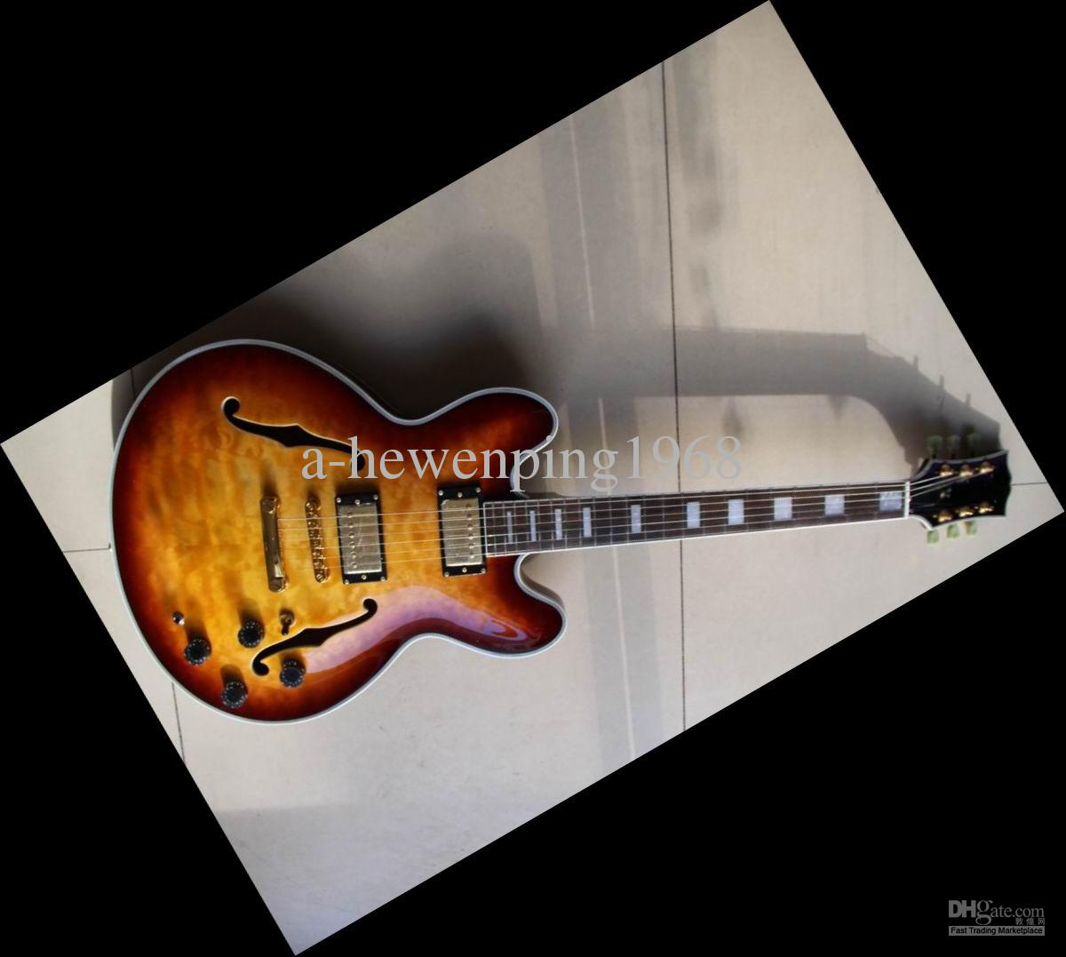 new semi hollow 335 classic jazz guitar sunbrst high quality hot 20130101 parts of electric. Black Bedroom Furniture Sets. Home Design Ideas