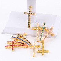 48x 25mm or Cristal Strass SideWays Cross Connecteur Perles faisant bracelet