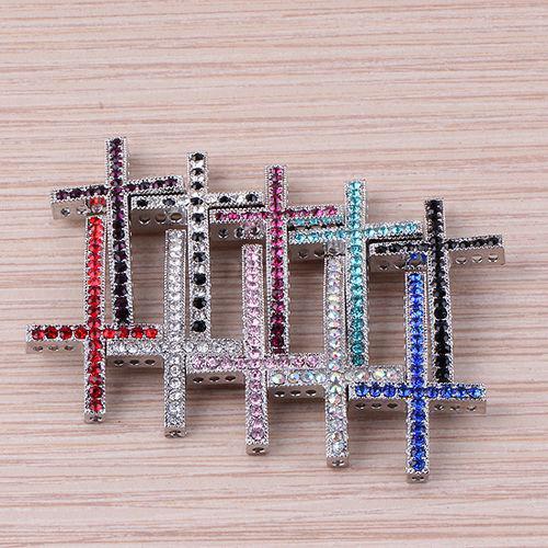Античный серебряный Кристалл стразы боком крест разъем бусины делая браслет ювелирных изделий бесплатная доставка