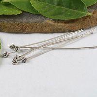 Wholesale Head Pins Tibetan Silver - 100PCS HANDMADE Tibetan silver Head Pin W  Unique head H0594