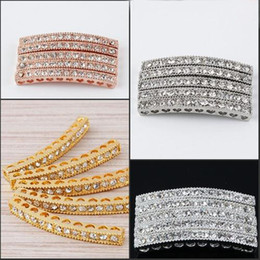Wholesale Tube Bar Crystals - 40 x 4mm Mixed Plated White Crystal Rhinestones Bar tube Connector Charm Beads making Bracelet