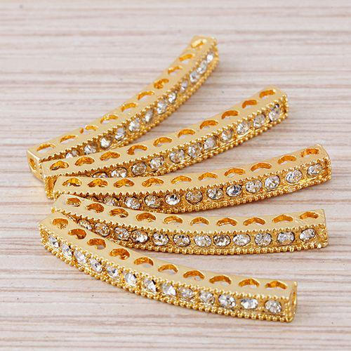 40 x 4mm 25pcs gold Plated and white Crystal Rhinestones Bar tube Connector Beads making Bracelet Jewelry findings