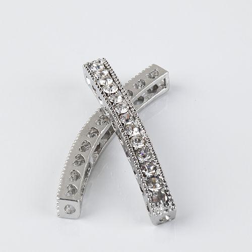 40 x 4 mm mezclado plateado cristal blanco Rhinestones Bar tubo conector granos del encanto que hacen la pulsera