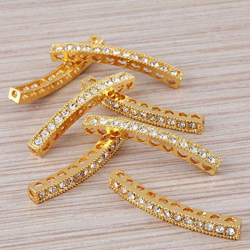 40 x 4mm gold Plated and white Crystal Rhinestones Bar tube Connector Beads making Bracelet Jewelry findings