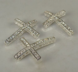 Wholesale Cross Bracelets Rhinestone Paved Connector - 25x 35mm silver Tone Pave Clear Crystal Rhinestones SideWays Cross Connector Beads making bracelet Jewelry findings