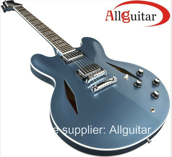 best selling Custom Shop DG 335 Dave Grohl Blue Electric Guitar Semi hollow Body Dark Blue China Sign Guitars