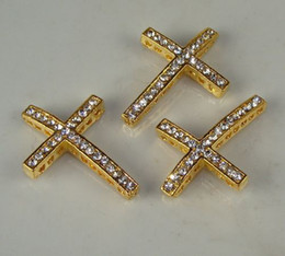 Wholesale Crystal Sideways Pave Cross - 25 pcs 25x 35mm gold Tone pave Clear Crystal Rhinestones SideWays Cross Connector Beads making bracelet Jewelry findings