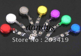 China wholesale retail ID holder name tag card key Badge Reels Round Solid Translucent Plastic Clip-On Ret suppliers