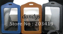 Wholesale Badge Leather - Wholesale multi Vertical 3 color PU leather ID Badge Holders PVC clear name card credit case certificate