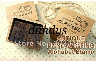 best selling wholesale Wooden vintage block Creative letters Antique Alphabet Stamps seal Handwriting diary carve